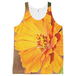 金《植物》百日草の花 オールオーバープリントタンクトップ