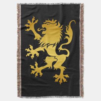 金Heraldicライオン毛布 スローブランケット