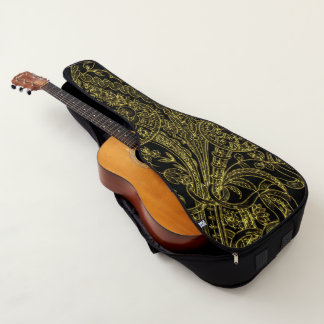 金inlayedスタイルの花模様 ギターケース