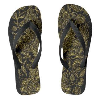 金inlayedスタイルの花模様 ビーチサンダル