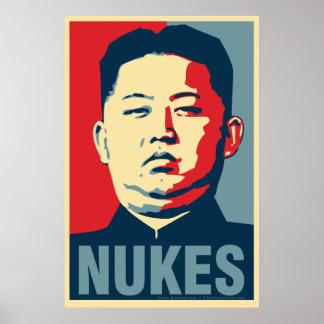 """金Jong国連""""原子力""""のオバマのパロディポスター ポスター"""