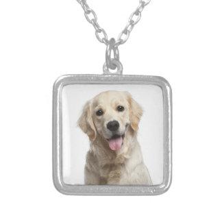 金Retreiverの小犬のペンダントのネックレス シルバープレートネックレス