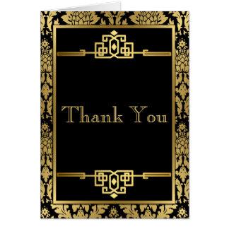 金RomanceArt DecoThankメッセージカード グリーティングカード