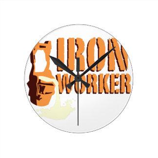 鉄の労働者 ラウンド壁時計