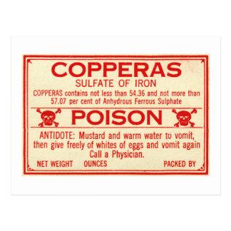 鉄の毒ラベルのヴィンテージのCopperasの硫酸塩 ポストカード