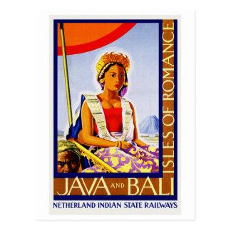 鉄道によるヴィンテージジャワおよびバリ島インドネシア ポストカード