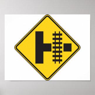鉄道の踏切の交通標識ポスター ポスター