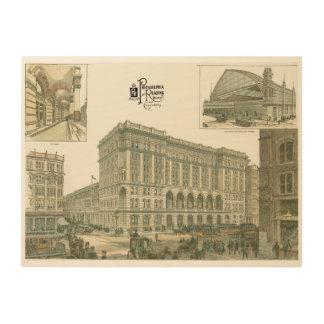 鉄道ターミナル1893年を読むヴィンテージ ウッドウォールアート