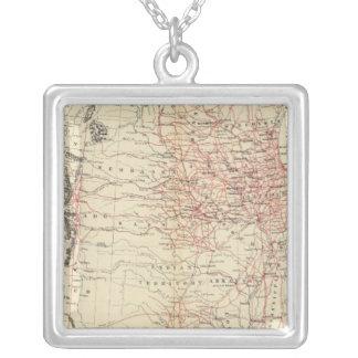 鉄道地図米国 シルバープレートネックレス