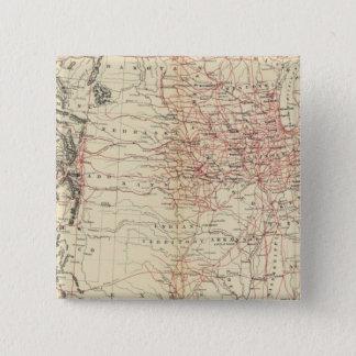 鉄道地図米国 5.1CM 正方形バッジ