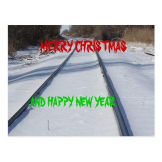 鉄道線路のメリークリスマスの郵便はがき ポストカード