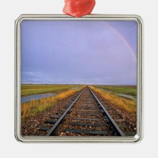 鉄道線路上の虹はFairfieldに近づきます メタルオーナメント