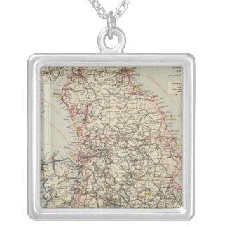 鉄道、統計的なイギリス、ウェールズ シルバープレートネックレス