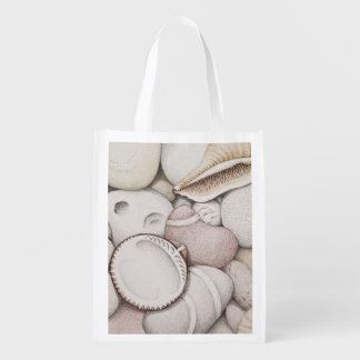 鉛筆のエコバッグのドクムギの貝及び小石 エコバッグ