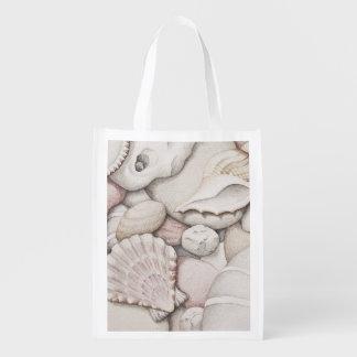 鉛筆のエコバッグの帆立貝の貝及び小石 エコバッグ