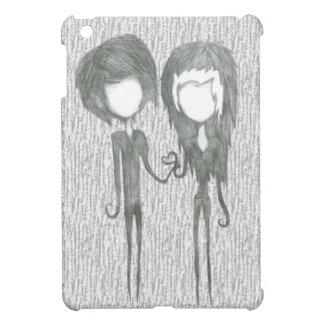鉛筆のスケッチの女の子の男の子のカップルの芸術 iPad MINI カバー