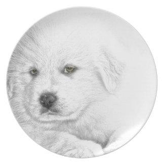 鉛筆のスケッチの子犬I愛 プレート