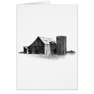 鉛筆のスケッチ: 古い納屋、サイロ: 現実主義 カード