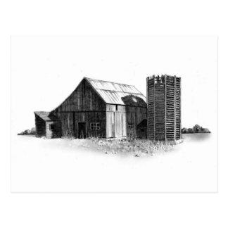 鉛筆のスケッチ: 古い納屋、サイロ: 現実主義 ポストカード