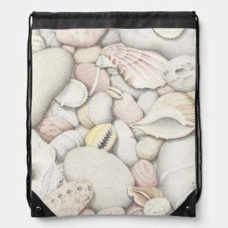 鉛筆のドローストリングバッグの海の貝及び小石 ナップサック