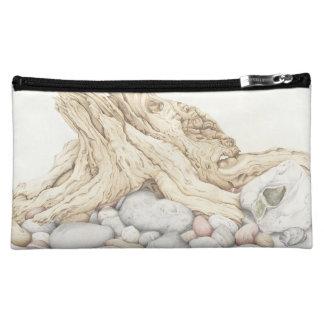 鉛筆の流木および小石の静物画 コスメティックバッグ