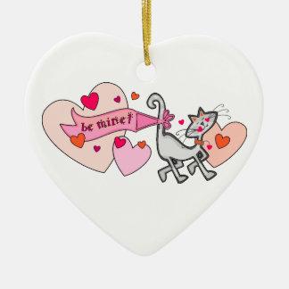 鉱山のバレンタインの子猫猫があって下さい セラミックオーナメント