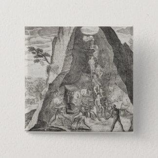 鉱山のToilersの風変わりで古風な写真の 5.1cm 正方形バッジ