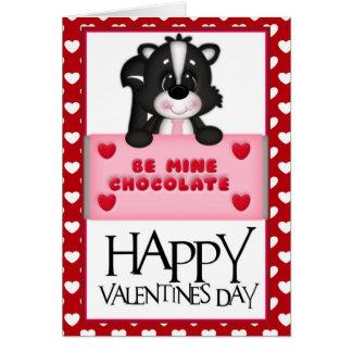 鉱山チョコレートバレンタインのスカンクの挨拶状d1があって下さい カード