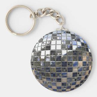 銀およびある青いディスコの球の鏡 キーホルダー