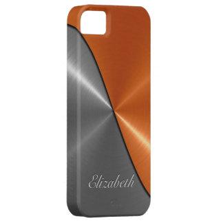 銀およびオレンジ光沢があるステンレス鋼の金属 iPhone SE/5/5s ケース