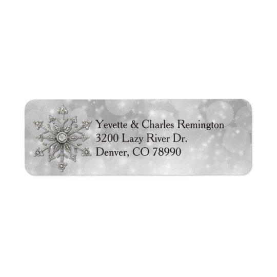 銀およびダイヤモンドの雪片の宛名ラベル ラベル