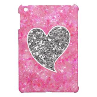 銀およびピンクのきらびやかなハート iPad MINIケース