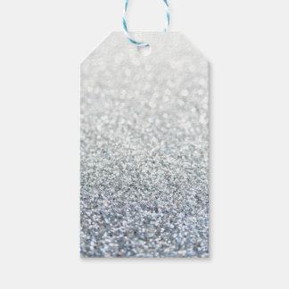 銀および灰色のきらびやかなギフトのラベル ギフトタグ