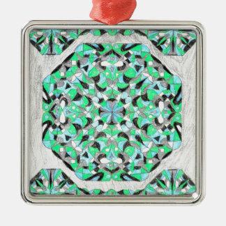 銀および緑の東洋の敷物のデザイン! メタルオーナメント
