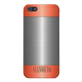 銀および赤いステンレス鋼の金属 iPhone 5 カバー