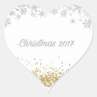 銀および金ゴールドのクリスマスの2017年のハートのステッカー ハートシール