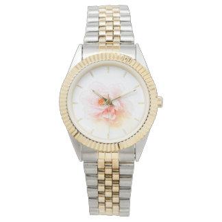 銀および金ゴールドのピンクの花の水彩画の腕時計 腕時計