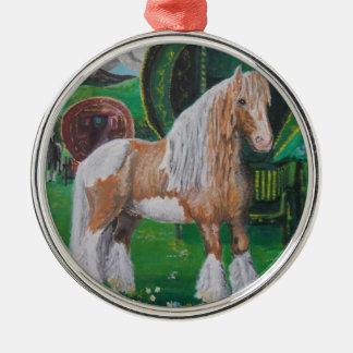 銀および金ゴールドのロマンチックな馬およびバン メタルオーナメント