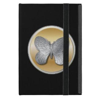 銀および金ゴールドの蝶 iPad MINI ケース