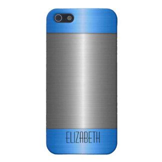 銀および青いステンレス鋼の金属 iPhone 5 CASE
