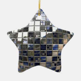銀および青いディスコの星の鏡のオーナメント セラミックオーナメント