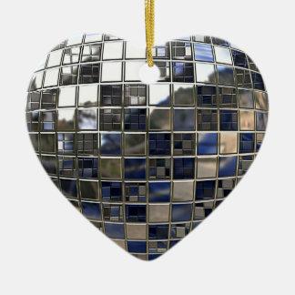銀および青のディスコの鏡のハートのオーナメント セラミックオーナメント