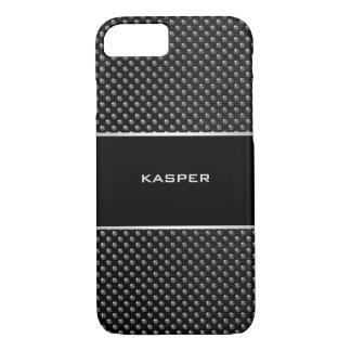 銀が付いている黒い箱は名前のためのフレームをねじで締めます iPhone 8/7ケース