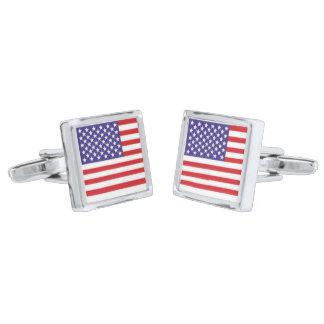 銀によってめっきされる正方形のカフスボタン米国の旗 シルバー カフスボタン