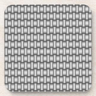 銀によって編まれる金属正方形のコースター コースター