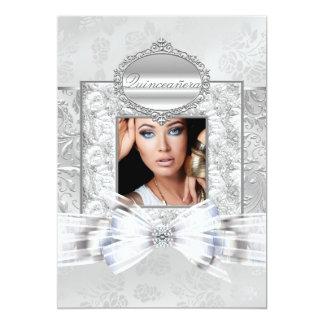 銀のばら色のキンセアニェラの発表 12.7 X 17.8 インビテーションカード