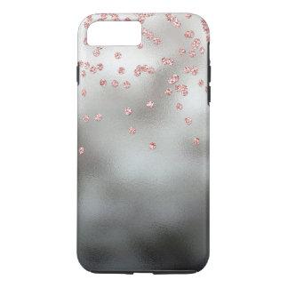 銀のばら色の金ゴールドのグリッターの紙吹雪 iPhone 8 PLUS/7 PLUSケース