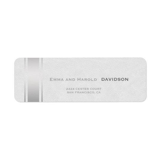 銀のストライプの白革のカスタムのモノグラム 返信用宛名ラベル