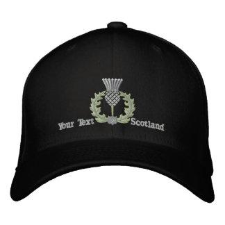 銀の名前入りなスコットランドのアザミスコットランド 刺繍入りキャップ