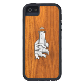 銀はチーク木装飾の灯台を好みます iPhone SE/5/5s ケース
